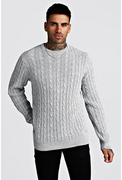 Light grey Crew Neck Cable Knitted Jumper