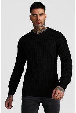 Black Crew Neck Cable Knitted Jumper