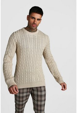 Crew Neck Cable Knitted Jumper, Stone