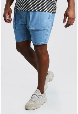 Short en denim coupe slim cargo big and tall, Délavage vintage