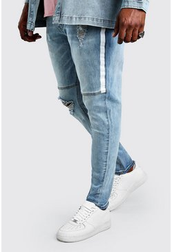 Pale blue Plus Size Skinny Jean With Side Paint