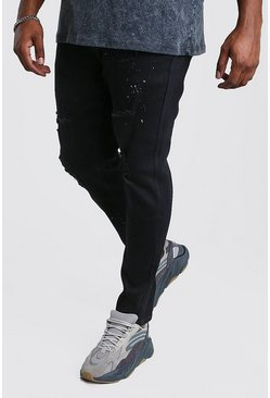 Black Big And Tall Skinny Jean With Paint Splatter