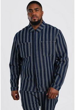 Dark blue Big And Tall Jacquard Denim Shirt Jacket