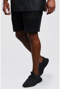 Washed black Big And Tall Skinny Biker Jean Short