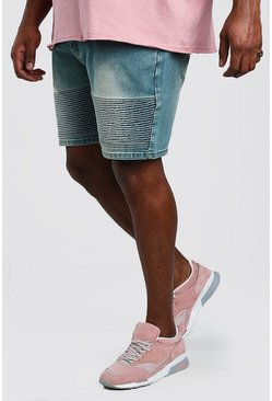 Big And Tall Skinny Biker Denim Short , Mid wash
