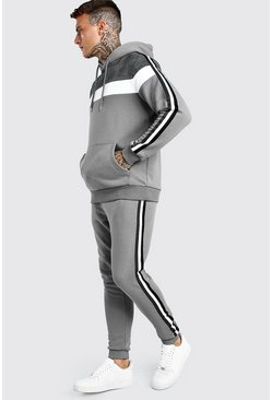 Slate Jacquard Colour Block Hooded Tracksuit With Tape
