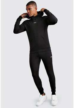Black MAN Muscle Fit Poly Hooded Tracksuit With Zips