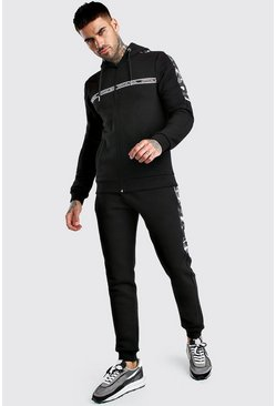 Black Nylon Camo Panelled Hooded Tracksuit With MAN Tape