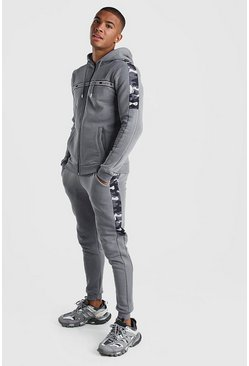 Slate Nylon Camo Panelled Hooded Tracksuit With MAN Tape
