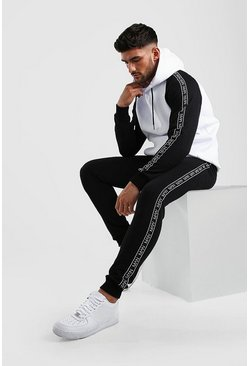 Black Colour Block Hooded MAN Tape Tracksuit