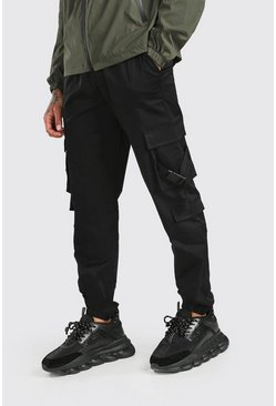Black Twill 3D Cargo Pocket Jogger Pants With Buckles