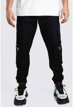 Black Man Twill Multi Pocket Cargo Pants With Zips