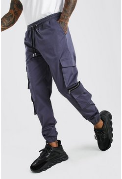 Slate Man Twill Multi Pocket Cargo Pants With Zips