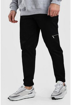 Black Skinny Fit Twill Cargo Trousers With Zips