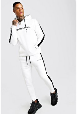 White MAN Official Hooded Tracksuit With Side Panels