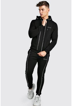 Black MAN Tape Detail Zip Through Tracksuit