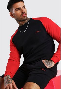Red MAN Signature Contrast Sleeve Short Tracksuit