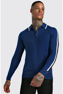Blue Long Sleeve Plain Knit Polo Shirt