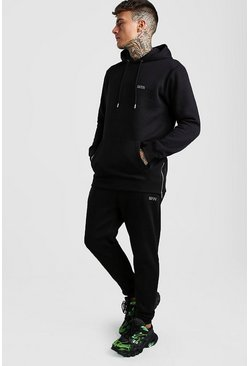 Black MAN Longline Skinny Tracksuit With Side Zips