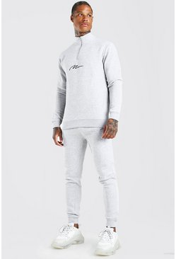Grey marl MAN Signature Half Zip Tracksuit