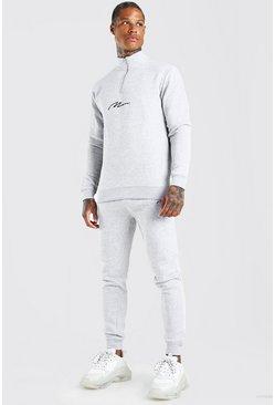 Grey marl MAN Signature Half Zip Tracksuit