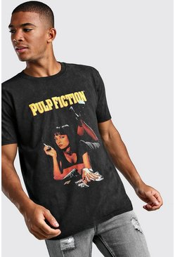 Black Pulp Fiction Mia Acid Wash License T-Shirt