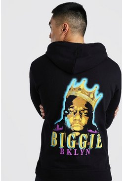 Black Biggie BKLYN License Back Print Hoodie