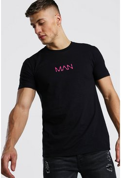 Black Original MAN Pink Print T-Shirt