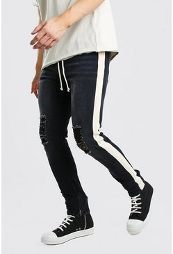 Washed black Skinny Busted Knee Jeans With Tape & Belt