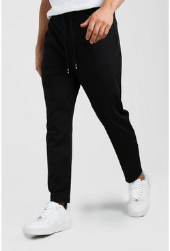 Black Scuba Dropped Crotch Trouser
