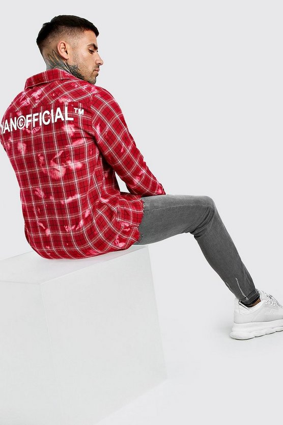 Red Long Sleeve Bleached Check Shirt With Back Print