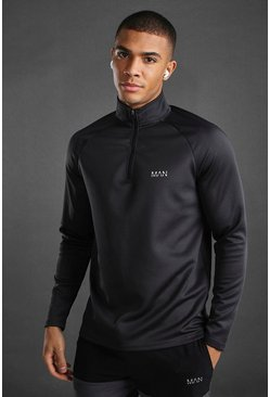 Charcoal MAN Active 1/4 Zip Funnel Neck