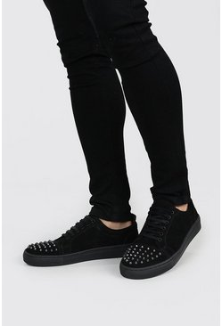 Black Stud Toe Immi Suede Sneakers
