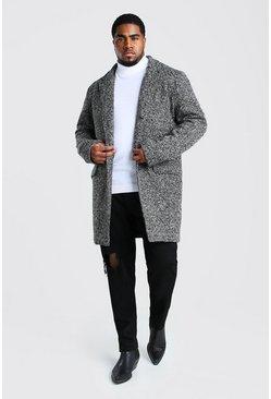 Charcoal Big And Tall Salt and Pepper Overcoat