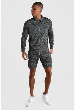 MAN Signature Smart Jacquard Short Tracksuit, Dark grey