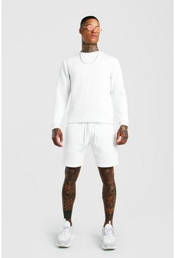 White MAN Signature Quilted Sweater Short Tracksuit