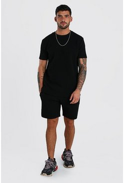 MAN Signature Quilted T-Shirt & Short Set, Black