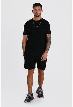 Black MAN Signature Quilted T-Shirt & Short Set