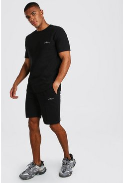 MAN Signature Pique Smart T-Shirt & Short Set, Black