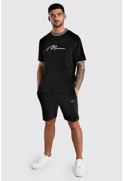 MAN Signature Velour T-Shirt & Short Set With Rib, Black