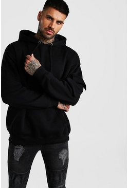 Black Oversized OTH Utility Hoodie With Sleeve Pocket
