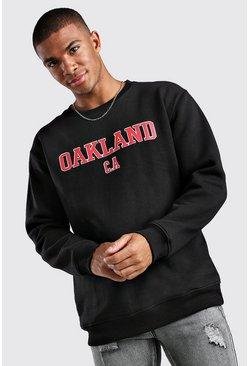 Black Loose Fit Oakland Print Varsity Sweatshirt