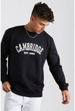 Navy Loose Fit Cambridge Print Varsity Sweatshirt