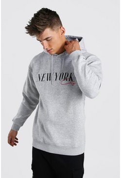 Grey marl Loose Fit New York Varsity Print Hoodie