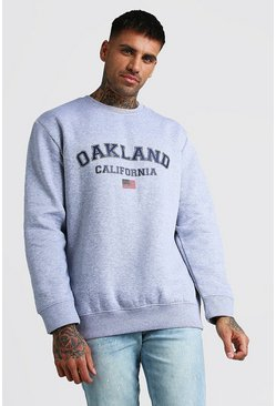 Grey marl Loose Oakland Varsity Sweat With Embroidery