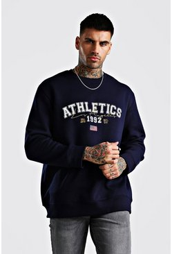 Navy Loose Los Angeles Varsity Sweat With Embroidery