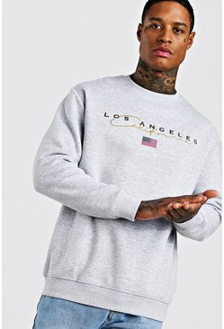 Grey marl Loose Los Angeles Varsity Sweat With Embroidery