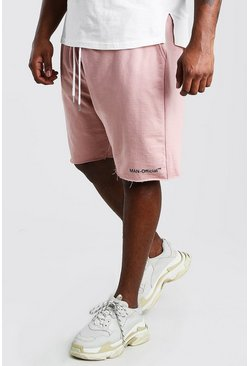 Mauve Big And Tall MAN Official Raw Hem Short