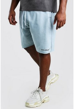 Blue Big And Tall MAN Official Raw Hem Short