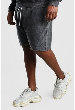 Charcoal Big And Tall MAN Official Raw Hem Short
